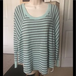 New Free People waffle knit thermal stripe top XS